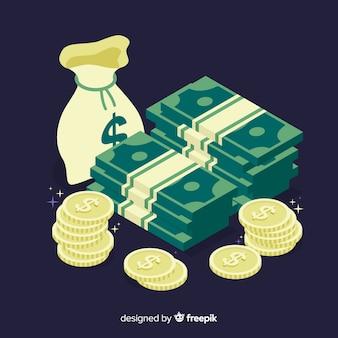 Fondo dinero isométrico