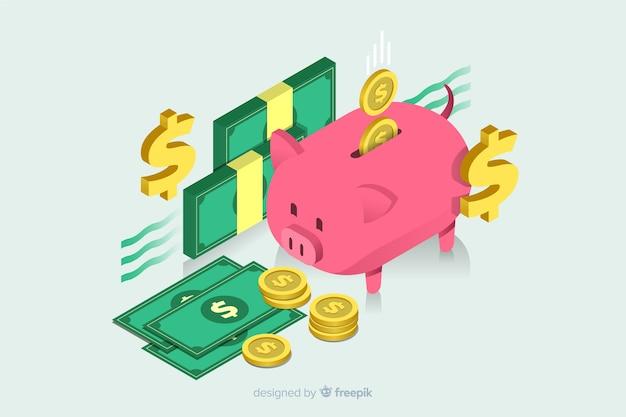 Fondo de dinero en isométrico