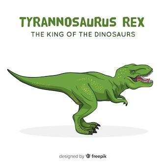 Fondo de dinosaurio t-rex dibujado a mano