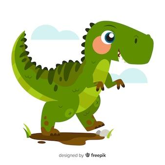 Fondo de dinosaurio t-rex en diseño plano