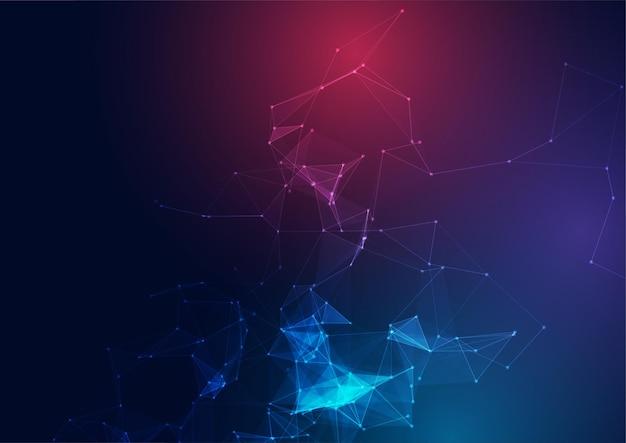 Fondo de diseño abstracto de baja poli con diseño de puntos y líneas de conexión