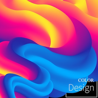 Fondo de diseño abstracto fluido colorido con texto de diseño de color