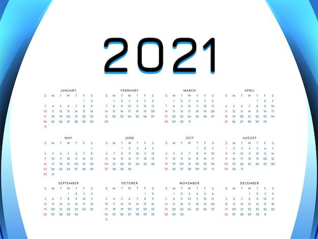 Fondo de diseño de calendario de estilo de onda de año nuevo 2021