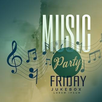 Fondo de diseño de cartel de evento de fiesta de fiesta de música