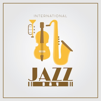 Fondo de diseño de cartel plano simple día internacional de jazz