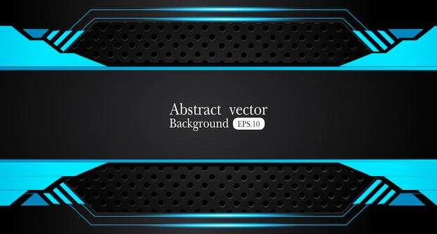 Fondo de diseño de concepto de innovación de diseño de marco negro azul metálico abstracto