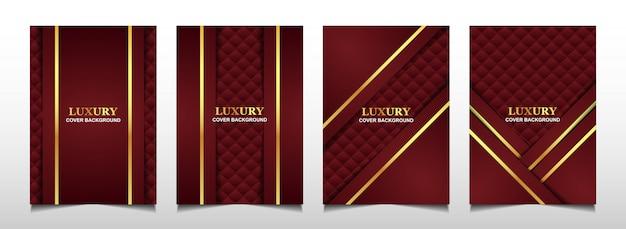 Fondo de diseño de cubierta roja y dorada de lujo