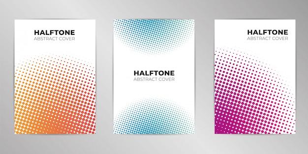 Fondo de diseño de cubierta de semitono set formato a4