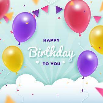 Fondo de diseño de cumpleaños plano