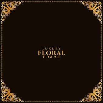 Fondo de diseño de esquina de marco floral dorado abstracto