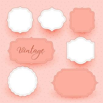Fondo de diseño de etiquetas de marcos vacíos de boda vintage