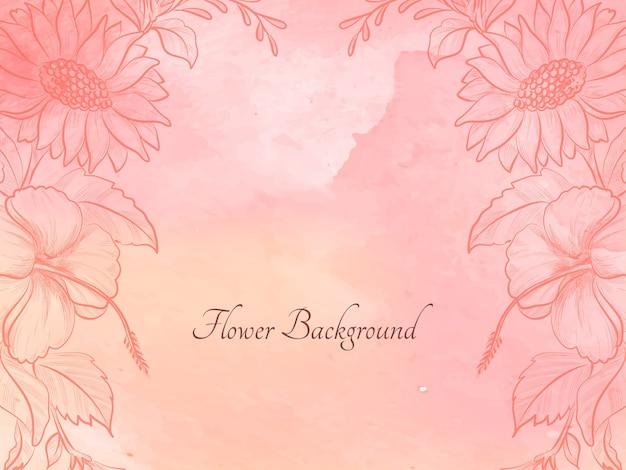 Fondo de diseño de flor de bosquejo dibujado mano acuarela suave