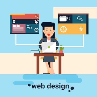 Fondo de diseño gráfico de lugar de trabajo de diseñador web de mujer