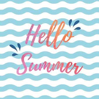Fondo con diseño de hola verano y olas blancas y azules