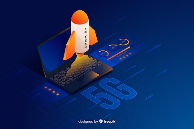 Fondo con diseño isométrico del concepto 5g
