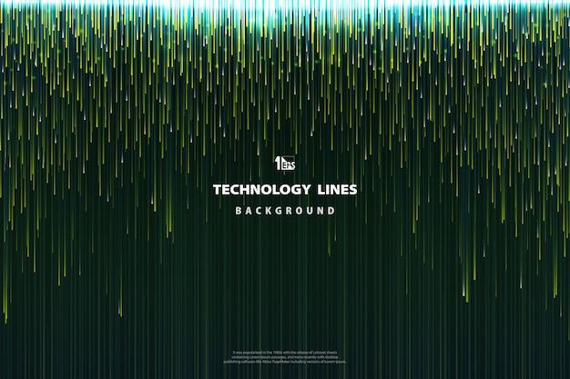 Fondo de diseño de líneas verdes de tecnología abstracta