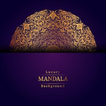 Fondo de diseño de mandala ornamental de lujo en color dorado, fondo de mandala de lujo para invitación de boda, cubierta de libro.