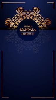 Fondo de diseño de mandala ornamental de lujo en color dorado, fondo de mandala de lujo para invitación de boda, portada de libro