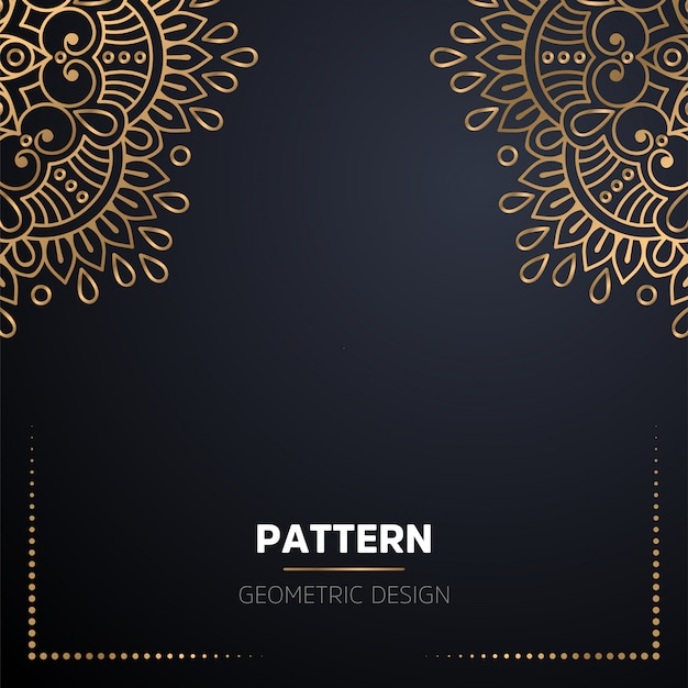 Fondo de diseño de mandala ornamental de lujo en color dorado