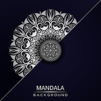 Fondo de diseño de mandala ornamental de lujo con color plateado