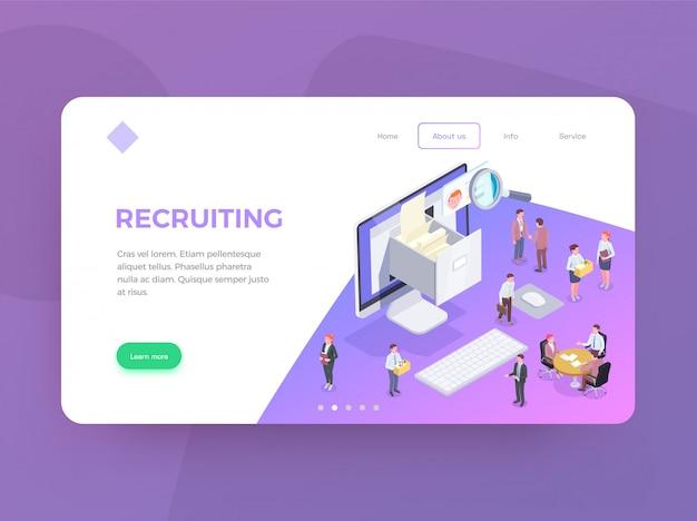 Fondo de diseño de página de aterrizaje web isométrica de reclutamiento con imágenes conceptuales editables de texto y enlaces de ilustración