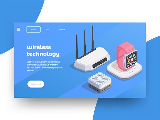 Fondo de diseño de página de sitio web isométrico de dispositivos modernos con imágenes de enrutador wifi de relojes inteligentes con ilustración de texto