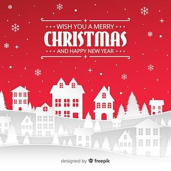 Fondo con diseño de paisaje de navidad en estilo papercut