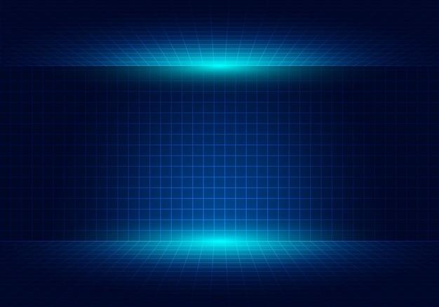 Fondo de diseño de perspectiva de cuadrícula azul abstracto con iluminación.