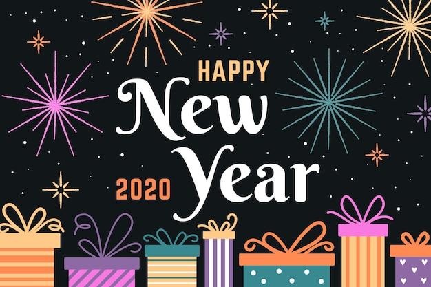 Fondo de diseño plano de año nuevo