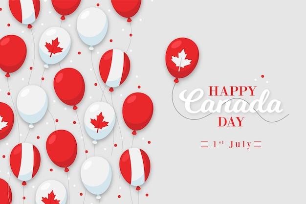 Fondo de diseño plano del día de canadá con globos