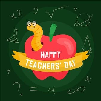 Fondo de diseño plano para el día del maestro con manzana y gusano