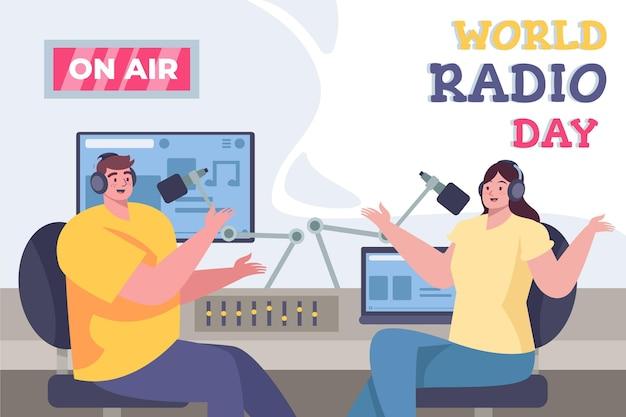 Fondo de diseño plano del día mundial de la radio con presentadores