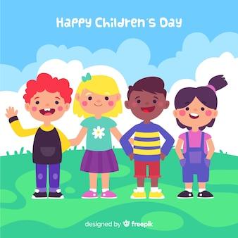 Fondo de diseño plano del día del niño