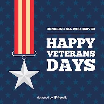Fondo de diseño plano del día de los veteranos