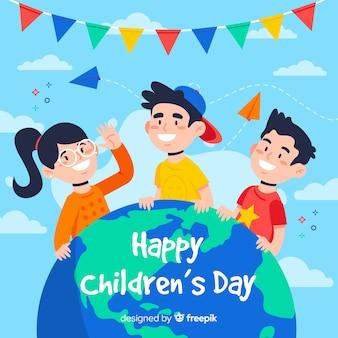 Fondo de diseño plano feliz día del niño