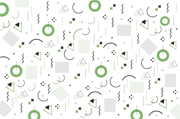 Fondo de diseño plano de formas geométricas de memphis
