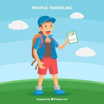 Fondo en diseño plano gente que viaja