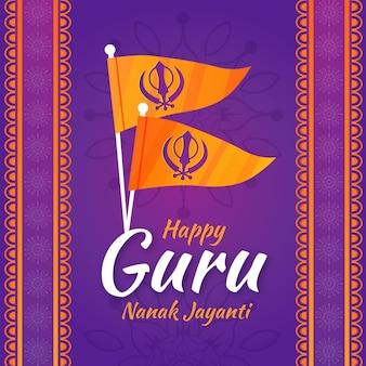Fondo de diseño plano de guru nanak jayanti con banderas