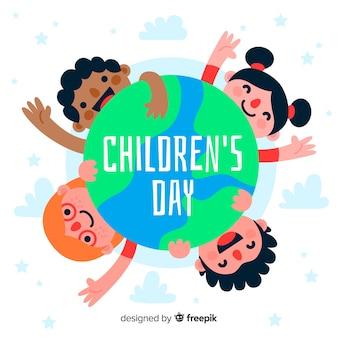 Fondo de diseño plano de niños de todo el mundo