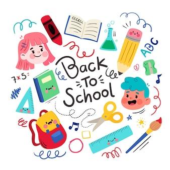 Fondo de diseño plano regreso a la escuela