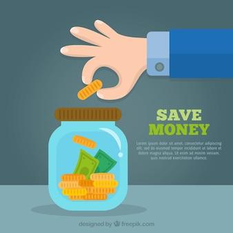 Fondo en diseño plano de tarro con ahorros
