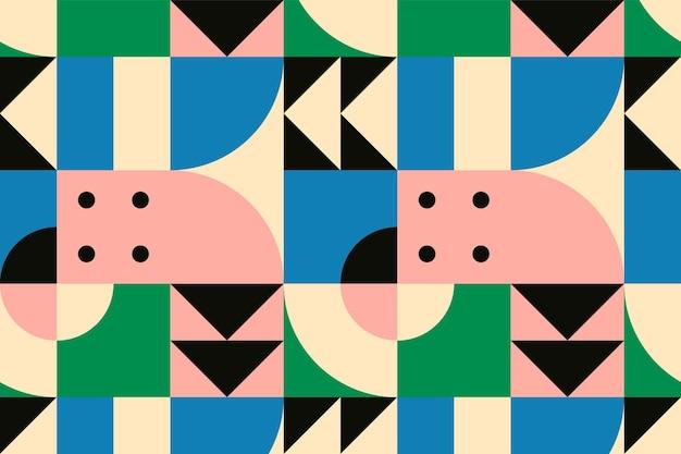 Fondo de diseño plano de vector de patrón inspirado en bauhaus