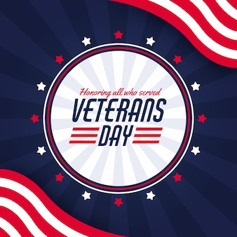Fondo de diseño plano de veteranos