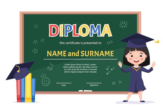 Fondo de diseño de plantilla de jardín de infantes de diploma de niños certificado con una linda chica asiática celebrando la graduación de preescolar