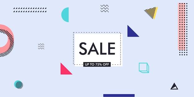 Fondo de diseño de publicidad de venta promocional con elementos de memphis