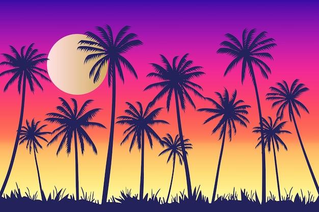 Fondo con diseño de siluetas de palmeras