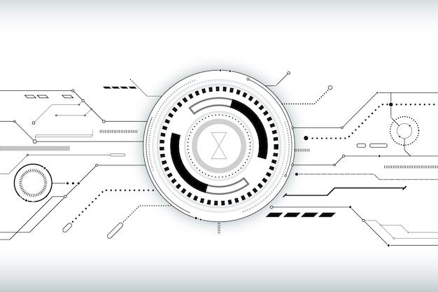 Fondo con diseño de tecnología blanca
