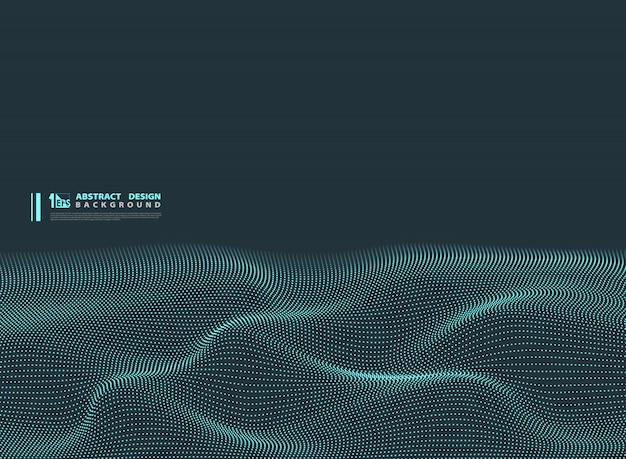 Fondo de diseño de tecnología ondulado de partícula azul abstracto.