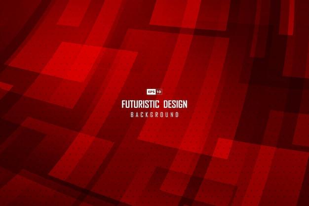 Fondo de diseño de tecnología rojo degradado abstracto con patrón de puntos de semitono.