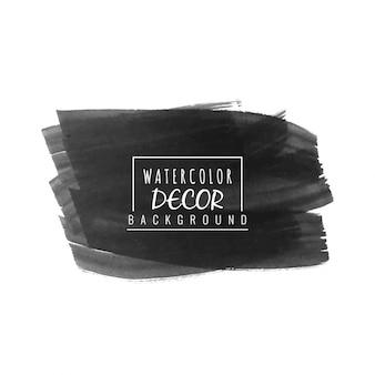 Fondo de diseño de trazo de pincel acuarela negra abstracta